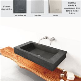 Lavabo suspendu 82x44 cm design SLANT 06 SINGLE de Gravelli, 0-3 trous, béton poli 3 coloris