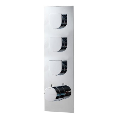 Mitigeur thermostatique douche encastré 3 sorties, design RAN, 5 finitions