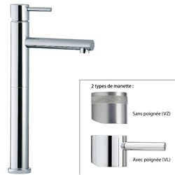 Mitigeur vasque design VELA, bec haut 24 cm, saillie 13 cm, 2 finitions