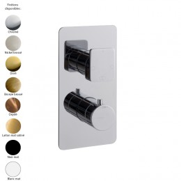 Mitigeur thermostatique douche encastré, inverseur 3 sorties, design HASK de Treemme, 8 finitions