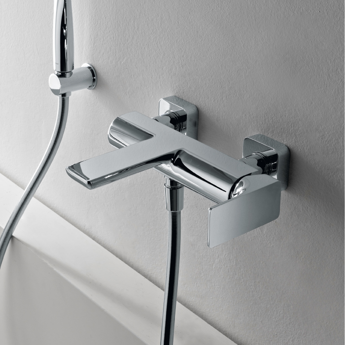 Mitigeur bain-douche mural design HASK, laiton 8 finitions, Treemme