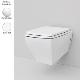 Cuvette WC suspendue design JAZZ, céramique blanc brillant ou mat