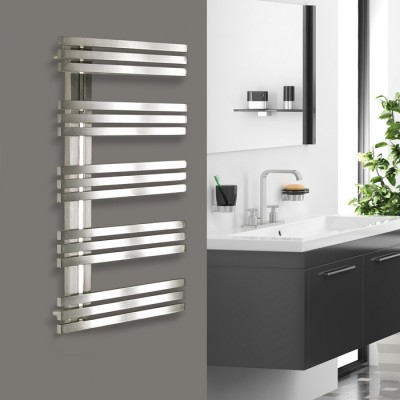 Sèche-serviettes mixte design ALIAS 100x50 cm, réversible, 530/400 W, inox satiné